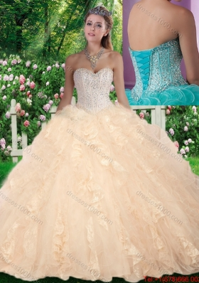 Latest Ball Gown Beading and Ruffles Sweet 16 Gowns for Fall