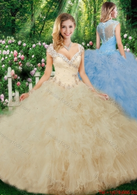 Luxurious Ball Gown Beading Quinceanera Dresses with Cap Sleeves