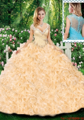 Luxurious Ball Gown Cap Sleeves Quinceanera Dresses with Beading and Ruffles for Fall