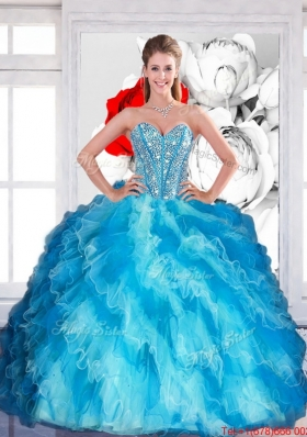 2015 Designer Sweetheart Multi Color Quinceanera Dresses with Beading and Ruffled Layers