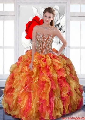 2015 Elegant Quinceanera Dresses with Beading and Ruffles