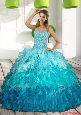 2015 Sweetheart Multi Color Elegant Quinceanera Dresses with Ruffles and Beading