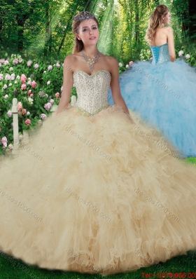 2016 Luxurious Ball Gown Sweet Sixteen Dresses with Beading