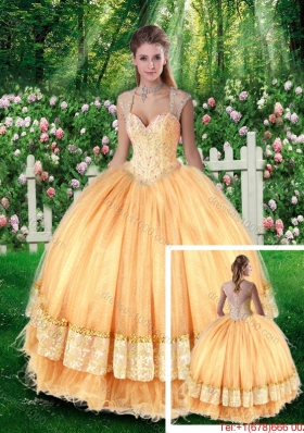 2016 Pretty Ball Gown Sweet Sixteen Dresses with Beading and Appliques