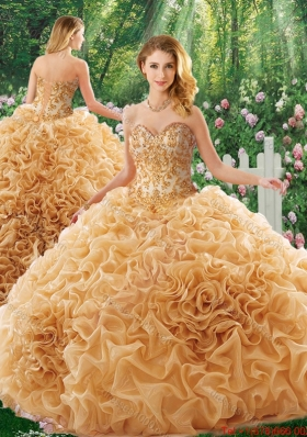 Elegant Brush Train Appliques Quinceanera Dresses for 16 Brithday Party