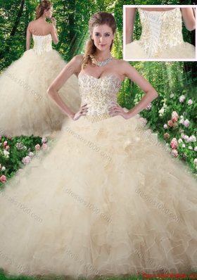 Elegant Champagne Sweet 16 Dresses with Beading and Ruffles