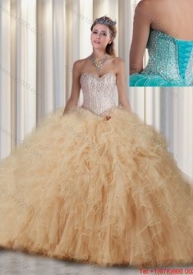 New Style Ball Gown Sweet 16 Dresses with Beading and Ruffles