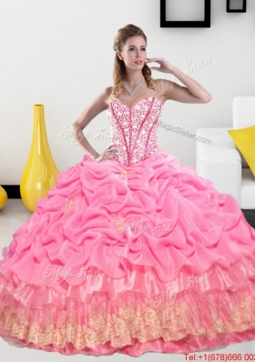New Style Sweetheart 2015 Quinceanera Gown with Pick Ups and Beading