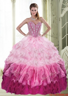 Popular Ball Gown Sweetheart Beading and Ruffled Layers Multi Color Quinceanera Dress for 2015