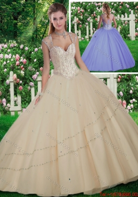 Simple Straps Beading Quinceanera Gowns for 2016