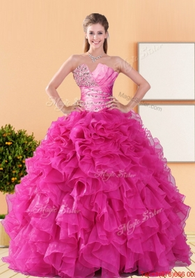 2015 Designer Beading and Ruffles Quinceanera Dresses in Hot Pink