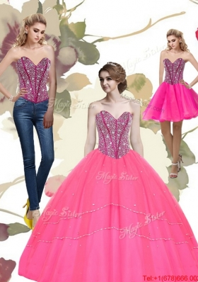 2015 Designer Beading Sweetheart Tulle Hot Pink Quinceanera Dresses