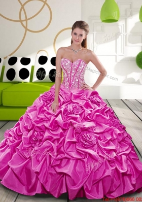 2015 Designer Fuchsia Dress for Quince with Beading and Pick Ups