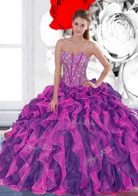 2015 Elegant Beading and Ruffled Layers Quinceanera Dresses in Multi Color