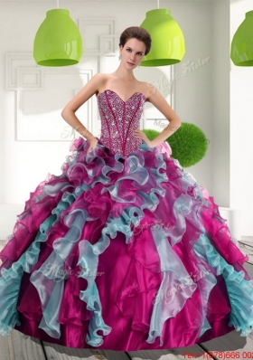 2015 Fashionable Sweetheart Quinceanera Dresses with Beading and Ruffles