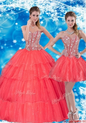 2015 Most Popular Beading and Ruffled Layers Sweetheart Quinceanera Dresses in Coral Red