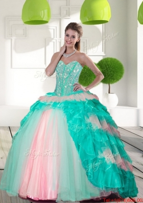 2015 Multi Colored Beading and Ruffled Layers Quinceanera Gowns in Multi Color