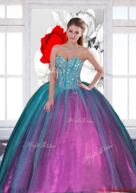 2015 Multi Colored Sweetheart Quinceanera Dresses with Beading