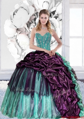 2015 Multi Colored Sweetheart Quinceanera Gown with Pick Ups and Ruffles
