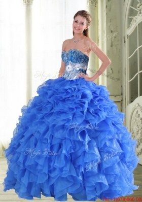 Designer Beading and Ruffles Sweetheart Blue Quinceanera Gown for 2015 Spring