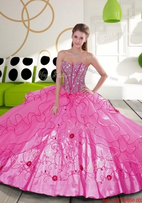 Elegant Beading and Embroidery Hot Pink Quinceanera Dresses for 2015