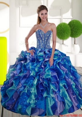Fashionable Beading and Ruffles Sweetheart 2015 Sweet 15 Dresses in Multi Color