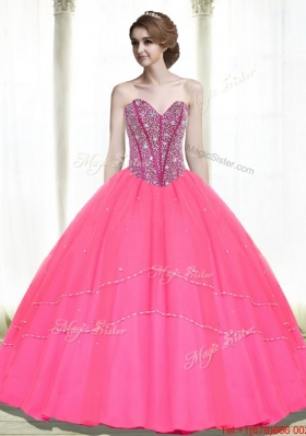 Fashionable Beading Sweetheart Hot Pink Quinceanera Dresses