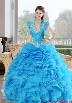 Most Popular Beading and Ruffles Sweetheart 2015 Quinceanera Dresses in Baby Blue