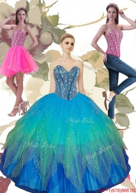 Most Popular Beading Sweetheart Tulle Quinceanera Dresses