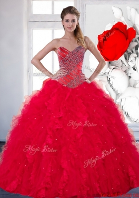 2014 Designer Sweetheart Red Quinceanera Dress with Beading and Ruffles