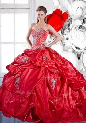 2015 Beading and Appliques Red Sweet Fifteen Dresses with Brush Train and Pick Ups