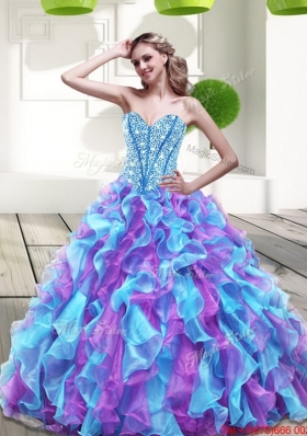 2015 Beautiful Sweetheart Multi Color Quinceanera Dresses with Beading and Ruffles
