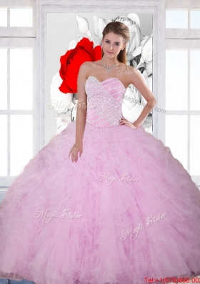 2015  Elegant Beading and Ruffles Sweetheart Quinceanera Dresses in Baby Pink