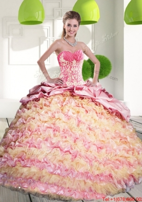 2015 Fashionable Quinceanera Gown with Ruffled Layers and Appliques