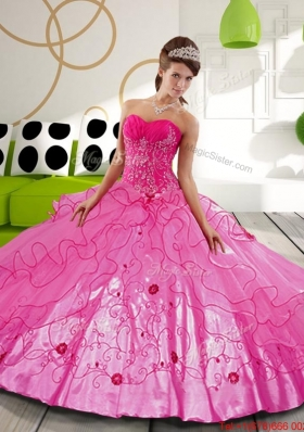 2015 Hot Pink Ball Gown Sweet 15 Dresses with Appliques