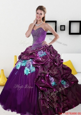 2015 MultiColored Sweetheart Quinceanera Dresses with Pick Ups and Appliques