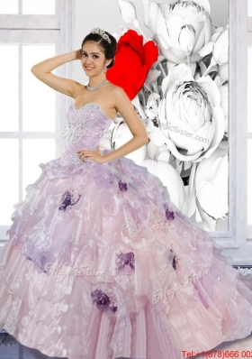 Beading and Appliques 2015 Multi Colored Quinceanera Dresses with Brush Train