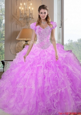 Comfortable Sweetheart Beading and Ruffles Lilac Sweet Fifteen Dresses for 2015