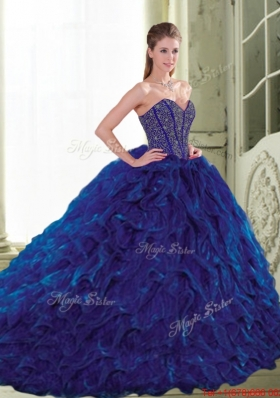 Elegant 2015 Sweetheart Beading and Ruffles Navy Blue Quinceanera Dresses