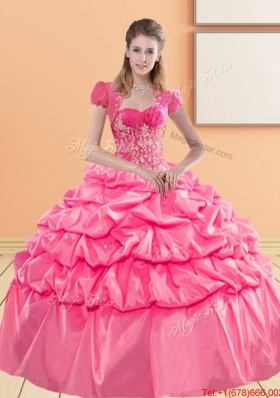 Elegant Sweetheart 2015 Quinceanera Gown with Appliques and Pick Ups
