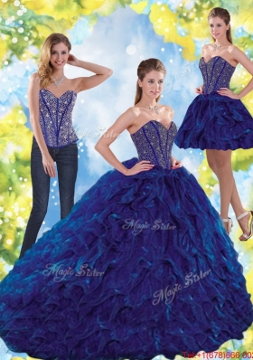 Most Popular Beading and Ruffles Sweetheart Ball Gown Quinceanera Dresses for 2015