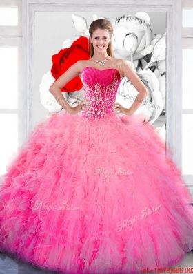 Most Popular Strapless 2015 Quinceanera Gown with Ruffles and Appliques