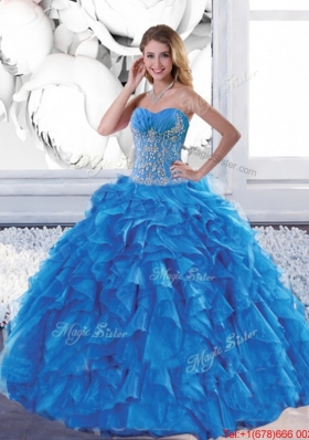 Most Popular Sweetheart Teal Sweet 16 Dresses with Appliques and Ruffles