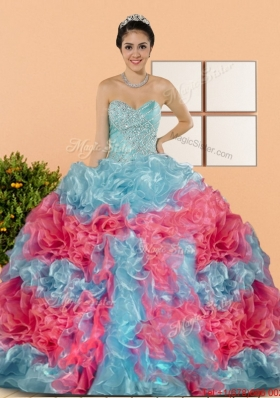 Multi Colored Multi Color 2015 Quinceanera Dresses with Beading and Ruffles