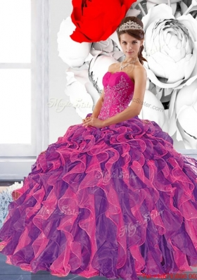 Multi Colored Sweetheart 2015 Quinceanera Dress with Appliques and Ruffles