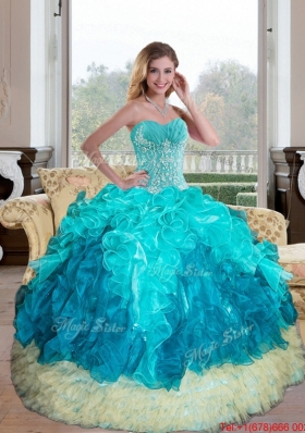Multi Colored Sweetheart Multi Color 2015 Quinceanera Gown with Appliques and Ruffles