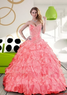 New Style Sweetheart 2015 Quinceanera Dress with Beading and Ruffles