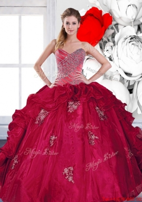 2015 Designer Sweetheart Ball Gown Quinceanera Dresses with Appliques