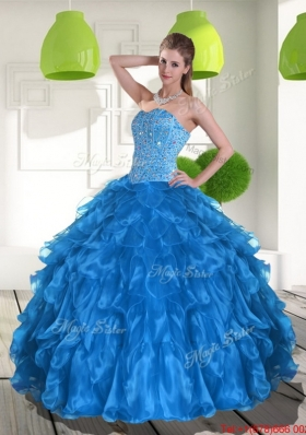 2015 Most Popular Blue Quinceanera Dress with Ruffles and Beading