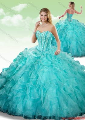 2016 Elegant Sweetheart Beading Quinceanera Dresses in Turquoise